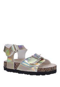 Złote sandały Casu na rzepy