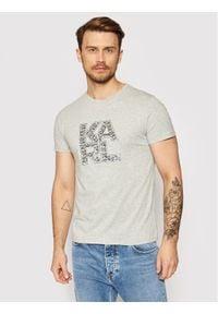 Karl Lagerfeld - KARL LAGERFELD T-Shirt Library KL21MTS01 Szary Regular Fit. Typ kołnierza: dekolt w karo. Kolor: szary