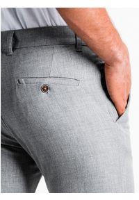 Ombre Clothing - Spodnie męskie chino P832 - jasnoszare - XXL. Kolor: szary. Materiał: tkanina, elastan, wiskoza, poliester. Styl: klasyczny, elegancki