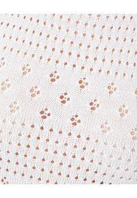 Pinko - PINKO - Biała ażurowa sukienka. Kolor: biały. Długość rękawa: na ramiączkach. Wzór: ażurowy. Sezon: lato. Typ sukienki: rozkloszowane. Długość: mini