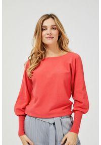 MOODO - Sweter z wiązaniem na plecach. Materiał: wiskoza, poliamid, poliester. Długość rękawa: długi rękaw. Długość: długie. Wzór: gładki