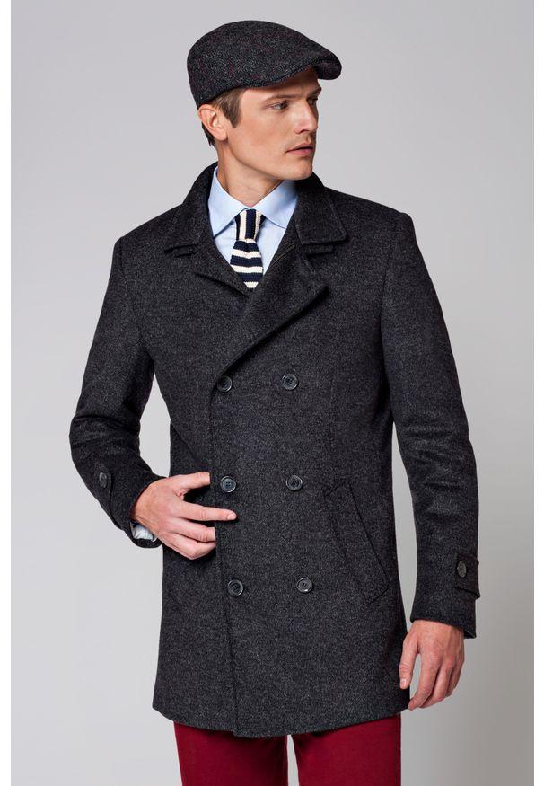 Szary płaszcz Lancerto w prążki, na co dzień