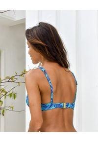 CAHA CAPO - Turkusowy top od bikini Lara. Kolor: niebieski. Materiał: materiał. Wzór: paisley, nadruk, aplikacja