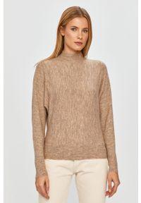 Brązowy sweter only długi, casualowy, z długim rękawem, na co dzień