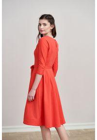 Marie Zélie - Sukienka Anastazja czerwień wiosenna 44 czerwony. Kolor: czerwony. Materiał: materiał, bawełna, dzianina, skóra, elastan. Sezon: wiosna. Typ sukienki: rozkloszowane. Styl: klasyczny