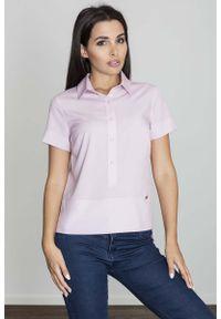 Różowa bluzka Figl polo, z krótkim rękawem