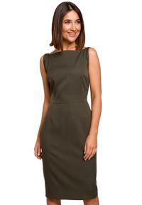 Style - Elegancka ołówkowa gładka sukienka midi. Okazja: do pracy, na randkę. Wzór: gładki. Typ sukienki: ołówkowe. Styl: elegancki. Długość: midi