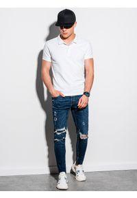 Ombre Clothing - Koszulka męska polo klasyczna bawełniana S1374 - biała - XXL. Typ kołnierza: polo. Kolor: biały. Materiał: bawełna. Wzór: haft. Styl: klasyczny