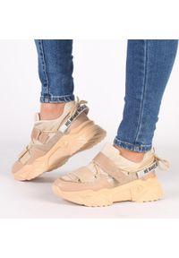 Navy dot - Beżowe sneakersy damskie NAVY DOT 56004. Kolor: beżowy. Materiał: zamsz, skóra