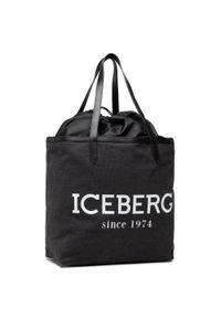 Iceberg - Torebka ICEBERG - 21E P2P1 7208 6904 9000 Black. Kolor: czarny. Wzór: aplikacja. Materiał: zdobione