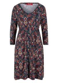 "Sukienka shirtowa z nadrukiem bonprix ciemnoniebieski ""paisley"". Kolor: niebieski. Wzór: paisley, nadruk"