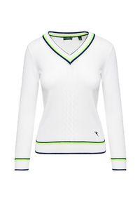 Biały sweter Chervo z golfem, w prążki