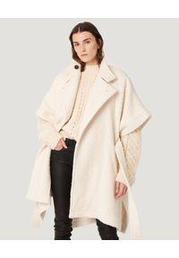 IRO - Kremowy płaszcz z krótkimi rękawami Handee. Kolor: beżowy. Materiał: materiał, wełna. Długość rękawa: krótki rękaw. Długość: krótkie