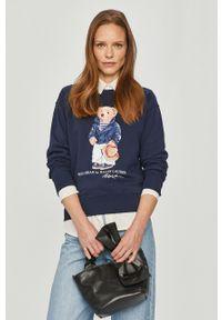 Niebieska bluza Polo Ralph Lauren z nadrukiem, polo, z długim rękawem, długa