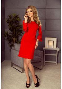 Numoco - Trapezowa sukienka z koronką na rękawkach. Materiał: koronka. Długość rękawa: krótki rękaw. Wzór: koronka. Typ sukienki: trapezowe