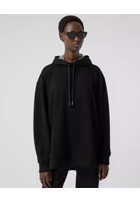 Burberry - BURBERRY - Czarna bluza z kapturem. Typ kołnierza: kaptur. Kolor: czarny. Materiał: bawełna. Długość rękawa: długi rękaw. Długość: długie. Wzór: aplikacja, kratka. Styl: elegancki