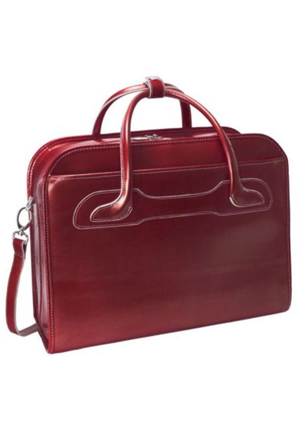 Torba na laptopa MCKLEIN Willowbrook 17 cali Czerwony. Kolor: czerwony. Materiał: skóra. Styl: retro