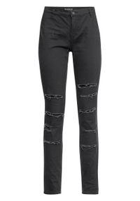 Spodnie SKINNY z wysoką talią i z przetarciami bonprix czarny. Kolor: czarny