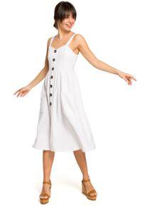 e-margeritka - Sukienka na ramiączkach midi biała - 36. Kolor: biały. Materiał: tkanina, len, materiał, poliester. Długość rękawa: na ramiączkach. Wzór: aplikacja. Sezon: lato. Typ sukienki: rozkloszowane, dopasowane. Długość: midi