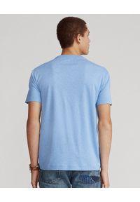 Ralph Lauren - RALPH LAUREN - Niebieski t-shirt Custom Fit Soft Cotton. Typ kołnierza: polo. Kolor: niebieski. Materiał: bawełna. Wzór: haft, kolorowy #5