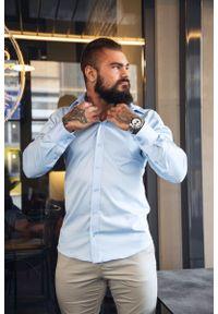 Niebieska elegancka koszula Atleto z klasycznym kołnierzykiem, długa, z długim rękawem