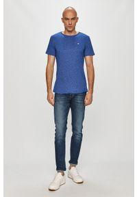 Niebieski t-shirt Tommy Jeans melanż, casualowy