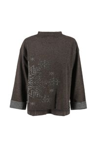 Brązowy sweter Bogner długi, na jesień, z aplikacjami