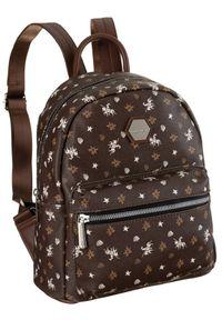 DAVID JONES - Plecak damski c. brązowy David Jones CM6125 D.BROWN. Kolor: brązowy. Materiał: skóra ekologiczna. Wzór: aplikacja, nadruk