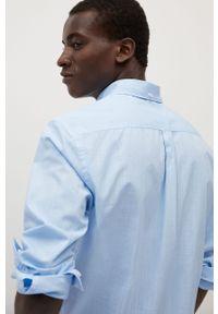 Niebieska koszula Mango Man długa, z klasycznym kołnierzykiem, z długim rękawem