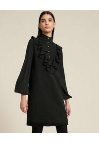 Luisa Spagnoli - LUISA SPAGNOLI - Czarna wełniana sukienka z falbanką MADRE. Kolor: czarny. Materiał: wełna. Długość: mini