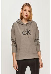 Szara bluza Calvin Klein na co dzień, z nadrukiem, z długim rękawem, casualowa
