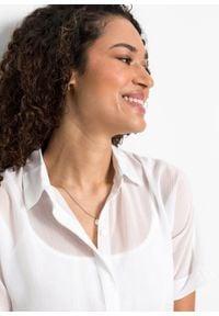 Prześwitująca bluzka z krótkim rękawem z poliestru z recyklingu bonprix biały. Kolor: biały. Materiał: poliester. Długość rękawa: krótki rękaw. Długość: krótkie