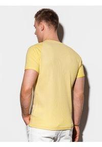 Żółty t-shirt Ombre Clothing klasyczny