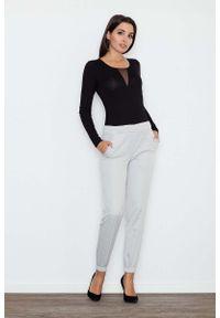 Figl - Szare Komfortowe Spodnie z Gumkami. Kolor: szary. Materiał: poliester, elastan
