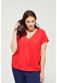 MOODO - Bluzka koszulowa. Materiał: wiskoza. Długość rękawa: krótki rękaw. Długość: krótkie. Wzór: gładki