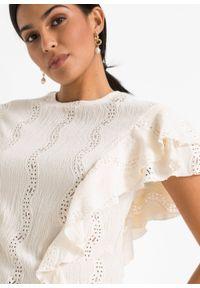 Beżowa bluzka bonprix w koronkowe wzory