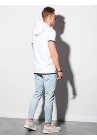 Ombre Clothing - T-shirt męski z kapturem bez nadruku S1376 - biały - XXL. Okazja: na co dzień. Typ kołnierza: kaptur. Kolor: biały. Materiał: jersey, dzianina, bawełna. Styl: klasyczny, casual