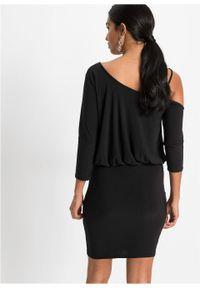 Czarna sukienka bonprix z aplikacjami, asymetryczna