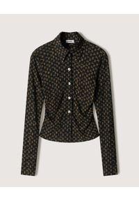 NANUSHKA - Taliowana koszula Illusion Check. Kolor: brązowy. Materiał: poliester. Długość rękawa: długi rękaw. Długość: długie. Wzór: aplikacja, kratka, nadruk