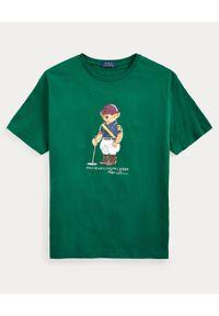 Ralph Lauren - RALPH LAUREN - Zielona koszulka z misiem Custom Fit. Okazja: na co dzień. Typ kołnierza: polo. Kolor: zielony. Materiał: bawełna. Wzór: nadruk. Styl: casual
