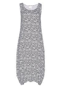 Sukienka midi z dżerseju bonprix biało-czarny wzorzysty. Kolor: biały. Materiał: jersey. Długość rękawa: bez rękawów. Długość: midi