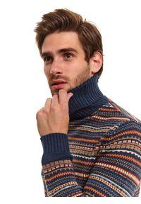 Niebieski sweter TOP SECRET retro, z golfem