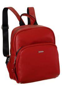 DAVID JONES - Plecak damski czerwony David Jones CM6072 RED. Kolor: czerwony. Materiał: skóra ekologiczna. Wzór: gładki