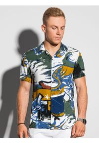 Ombre Clothing - Koszula męska z krótkim rękawem K574 - biała/zielona - XXL. Okazja: do pracy, na spotkanie biznesowe. Kolor: zielony. Materiał: wiskoza. Długość rękawa: krótki rękaw. Długość: krótkie. Wzór: kolorowy. Sezon: lato. Styl: wakacyjny, biznesowy
