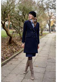 Marie Zélie - Płaszcz wełniany Debora granatowy – flausz. Kolor: niebieski. Materiał: wełna. Wzór: motyw zwierzęcy. Sezon: zima. Styl: klasyczny #5