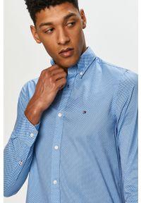 Niebieska koszula TOMMY HILFIGER na co dzień, casualowa, button down, z długim rękawem