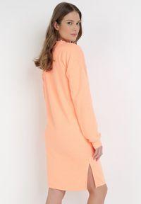 Born2be - Pomarańczowa Bluza Petoriko. Kolor: pomarańczowy. Długość rękawa: długi rękaw. Długość: długie. Wzór: napisy, aplikacja