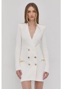 Elisabetta Franchi - Sukienka. Kolor: biały. Materiał: dzianina. Długość rękawa: długi rękaw. Wzór: gładki. Typ sukienki: dopasowane