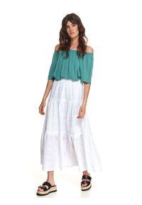 TOP SECRET - Długa ażurowa spódnica. Kolor: biały. Materiał: bawełna. Długość: długie. Wzór: ażurowy. Sezon: lato. Styl: wakacyjny