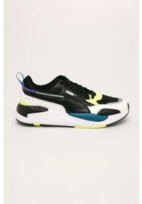 Czarne sneakersy Puma z cholewką, na sznurówki, z okrągłym noskiem
